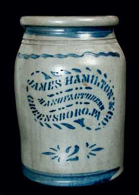 JAMES HAMILTON & CO. / MANUFACTURERS / GREENSBORO, PA Crock