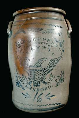 T.F. REPPERT / EAGLE POTTERY / GREENSBORO, PA 16-Gallon Stoneware Crock