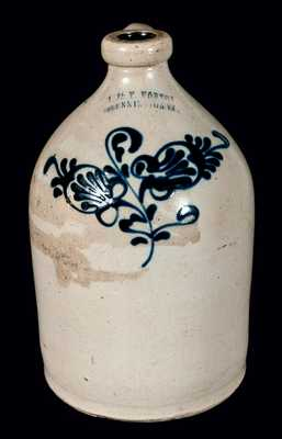 J. & E. NORTON / BENNINGTON, VT Stoneware Jug w/ Floral Decoration
