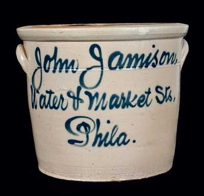 Philadelphia Stoneware Advertising Crock, Fulper, Flemington, NJ