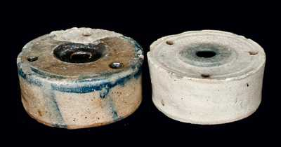Two Salt-Glazed Stoneware Inkwells
