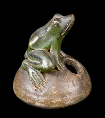 Anna Pottery 1879 Stoneware Frog Inkwell