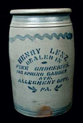 HENRY LENZ / ALLEGHENY CITY, PA (Pittsburgh) Stoneware Advertising Jar