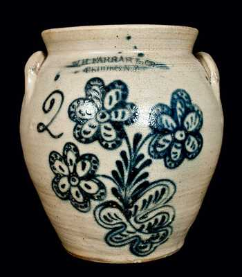 W.H. FARRAR & CO. / GEDDES, N.Y Stoneware Jar w/ Floral Decoration