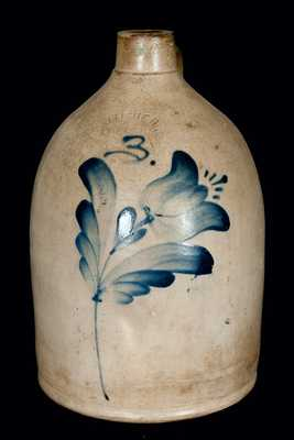 J. FISHER / LYONS, New York Stoneware Jug w/ Flower