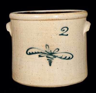 J. FISHER / LYONS, NY Stoneware Crock w/ Floral Decoration