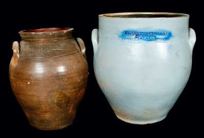 (2) NY Stoneware Jugs (S.S. Perry, West Troy and Bennett & Chollar, Homer)