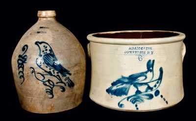 (2) Stoneware Pieces w/ Bird Decorations (Adam Caire, Poughkeepsie and S. Hart, Fulton)