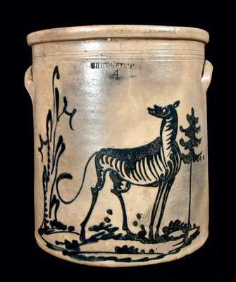 Stoneware Crock with Elaborate Cobalt Dog Scene, WHITES UTICA