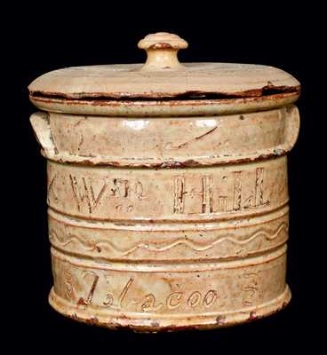Exceptional West Bloomfield, New York, Redware Presentation Tobacco Jar