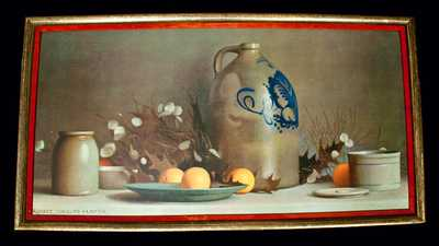 Framed Print of a Still Life Painting with Norton Stoneware
