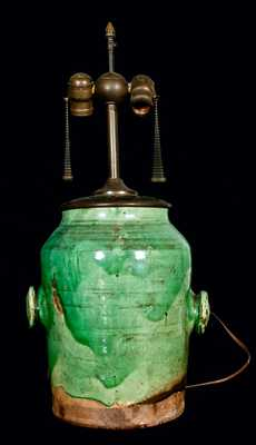 Copper-Glazed Redware Dispensing Jar