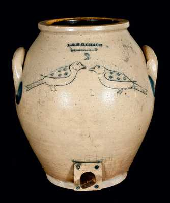 L. & B. G. CHASE / SOMERSET, Massachusetts Stoneware Incised Birds Cooler