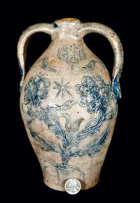 American Stoneware Masterpiece, Memorial Jug for a Potter Who Drowned