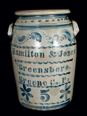 Hamilton & Jones / Greensboro. / Greene Co. Pa Five-Gallon Crock