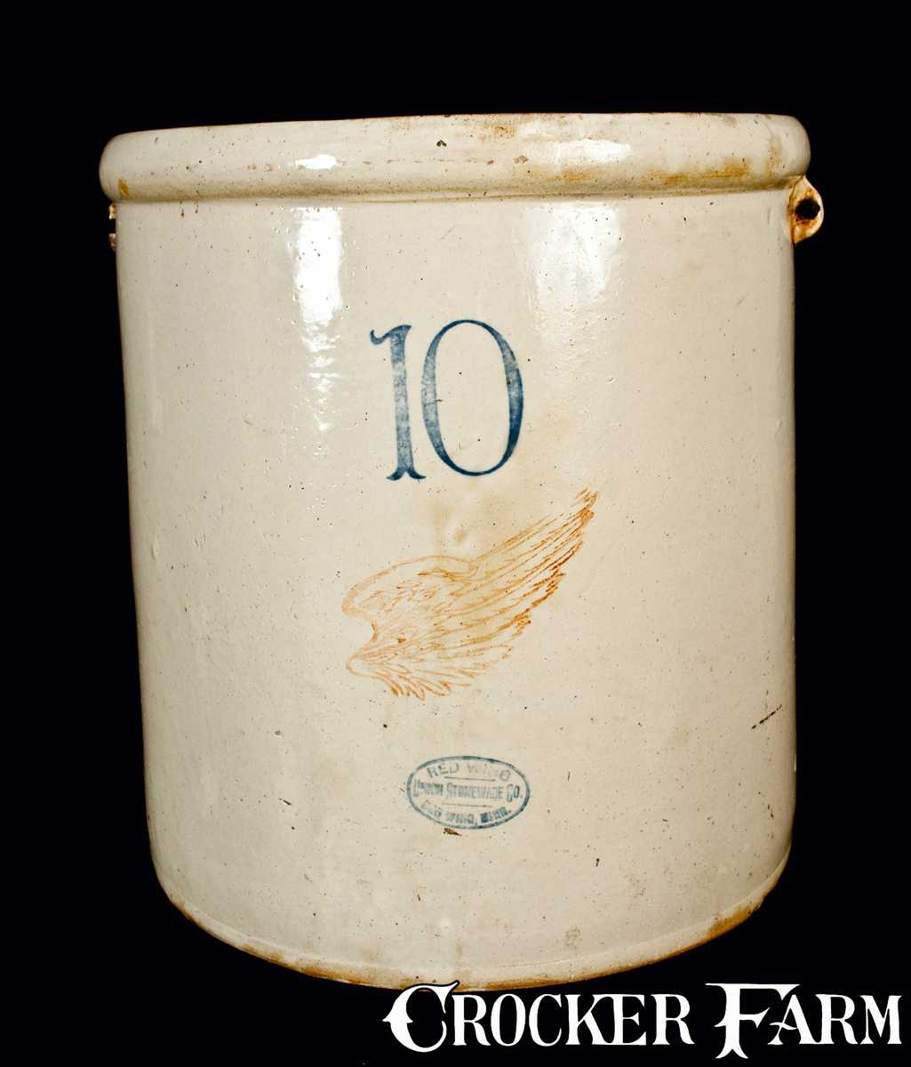 10 Gal Signed Red Wing Stoneware Crock Lot 268 July