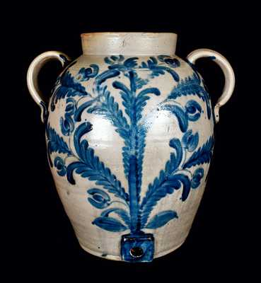 Important Baltimore Stoneware Water Cooler w/ Elaborate Decoration