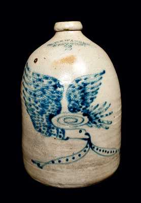 WM. E. WARNER / WEST TROY Stoneware Jug with Eagle