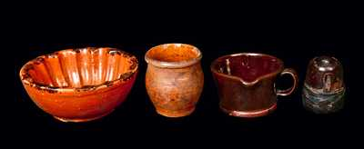 Lot of Four: Small Redware Articles