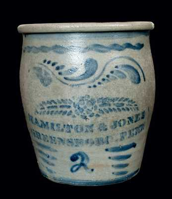 Hamilton & Jones, Greensboro, PA Stoneware Cream Jar