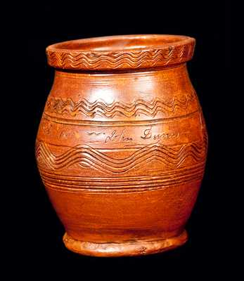 Rare New England Redware Jar Incised
