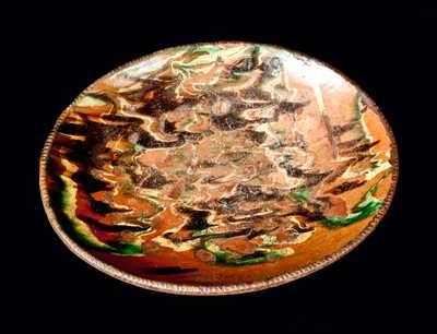 Rare Redware Loaf Dish with Marbled Glaze, New England