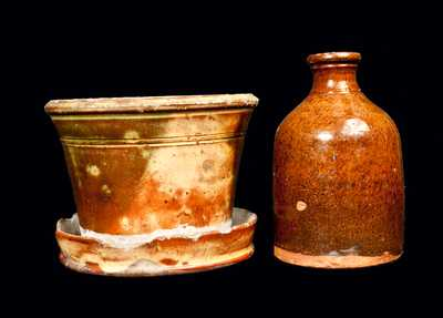 Two Pieces of Glazed Redware, American, 19th century.