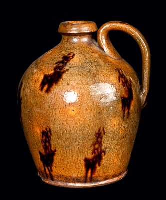 New England Redware Jug with Manganese Drips
