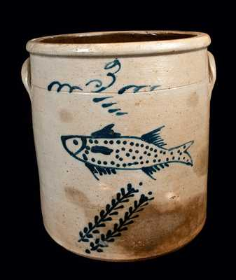 Ohio Stoneware Crock w/ Fish Decoration