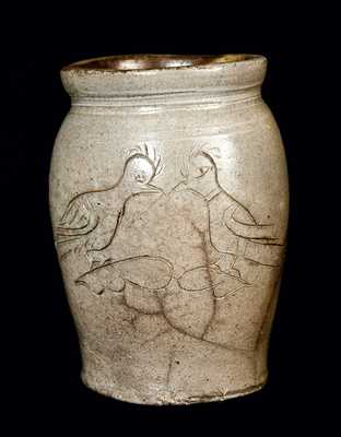 Small Stoneware Jar w/ Incised Birds, Dated 1821