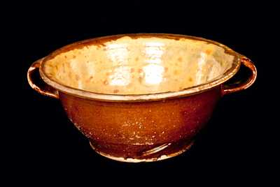 Open-Handled Redware Bowl with Lead-Glazed Interior