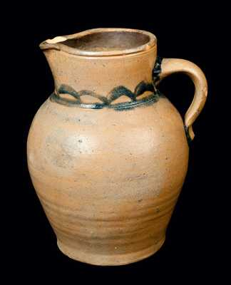 Cobalt-Decorated Stoneware Pitcher, probably Ohio
