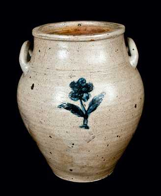 Boston Stoneware Crock  w/ Open Handles and Impressed Flower Design