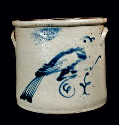 HUDSON POTTERY Stoneware Crock with Bird