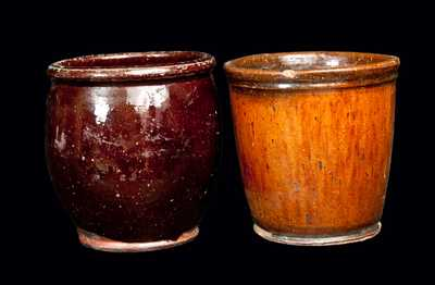 Lot of Two: Small Redware Jar and Redware Flowerpot
