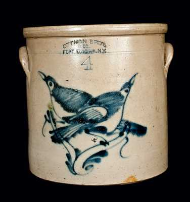 4 Gal. OTTMAN BROS. Stoneware Crock with Double Birds