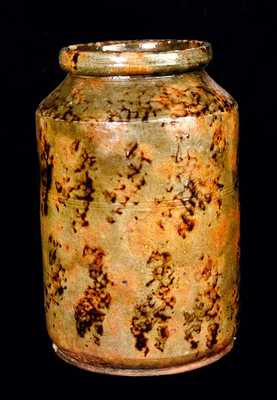 New England Redware Jar w/ Outstanding Manganese Sponging