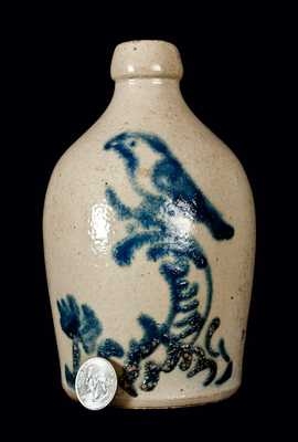 Pint-Sized Stoneware Jug with Cobalt Bird-on-Stump Decoration