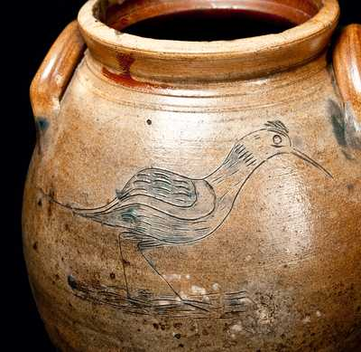 Outstanding CT Stoneware Crock w/ Incised Shorebird and Tree