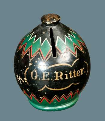 O. E. RITTER Redware Cold-Painted Presentation Bank