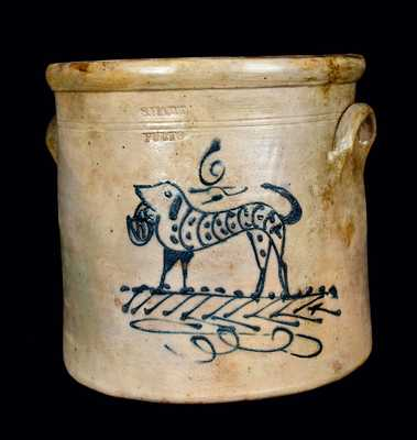 6 Gal. S. HART / FULTON Stoneware Crock with Dog
