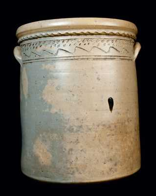 Outstanding 10 Gal. Ohio Stoneware Crock w/ Incised Peacock