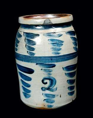 Two-Gallon Heavily-Decorated Western PA Stoneware Crock