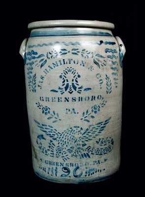 Exceptional 20 Gal. Jas. Hamilton Stoneware Crock with Large Eagle