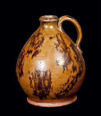 Ovoid Redware Jug with Manganese Splotches