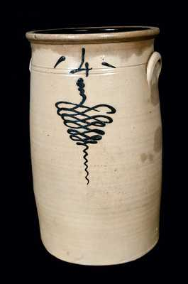 Four-Gallon Midwestern Stoneware Churn
