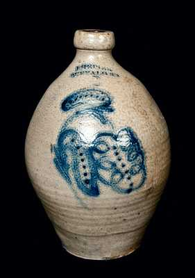 J. HEISER / BUFFALO, NY Stoneware Jug with Slip-Trailed Decoration