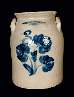 Floral Decorated T. HARRINGTON /LYONS (NY) Stoneware Jar