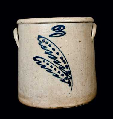 Three-Gallon Midwestern Stoneware Crock with Slip-Trailed Decoration