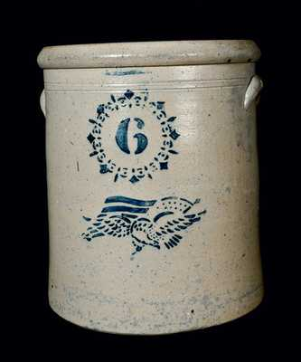 Six-Gallon Ohio Stoneware Crock with Stenciled Eagle and Flag
